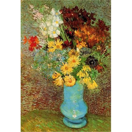 Puzzle 1000 pièces - Van Gogh : Fleurs dans un vase bleu - Dtoys-66916VG02