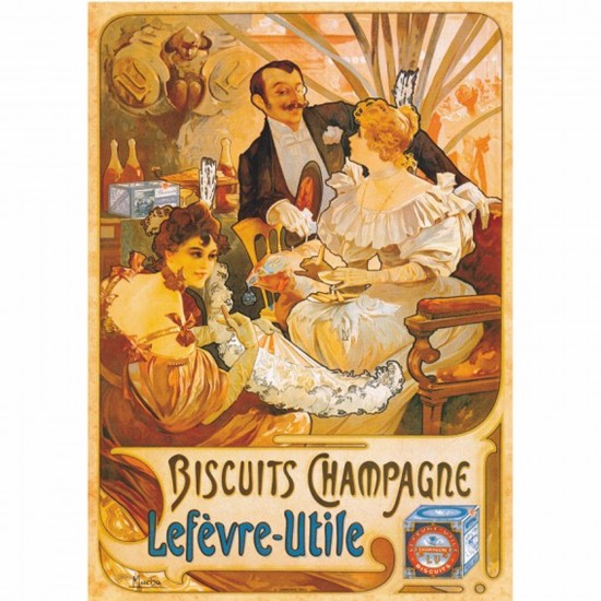 Puzzle 1000 pièces - Vintage Posters : Biscuits Champagne Lefevre-Utile - DToys-67555VP05
