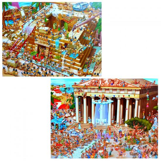 Puzzle 1000 pièces : Cartoon Collection 2 en 1 : Pyramide d'Egypte et Acropole - Dtoys-67760CC01