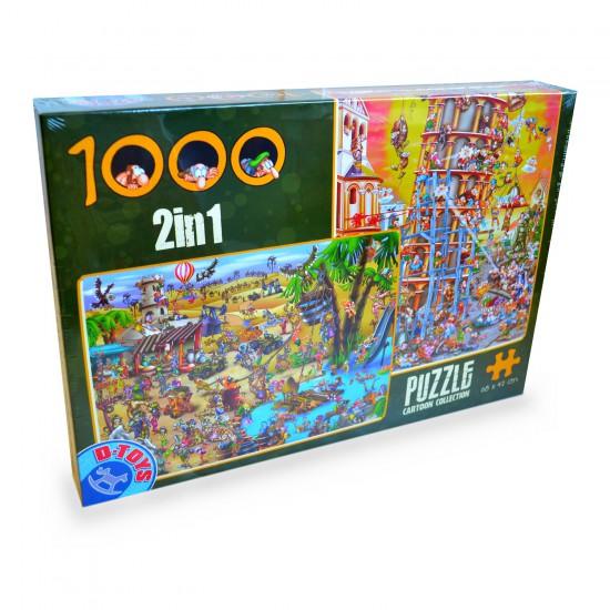 Puzzle 1000 pièces : Cartoon Collection 2 en 1 : Tour de Pise et La traversée du désert - Dtoys-67760CC03
