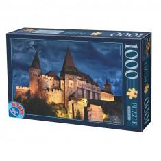 Puzzle 1000 pièces : Château des Corvin : Hunedoara : Roumanie : vue de nuit