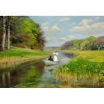 Puzzle 1000 pièces : Hans Anderson Brendekilde : Jeune couple dans une barque sur le fleuve Odense