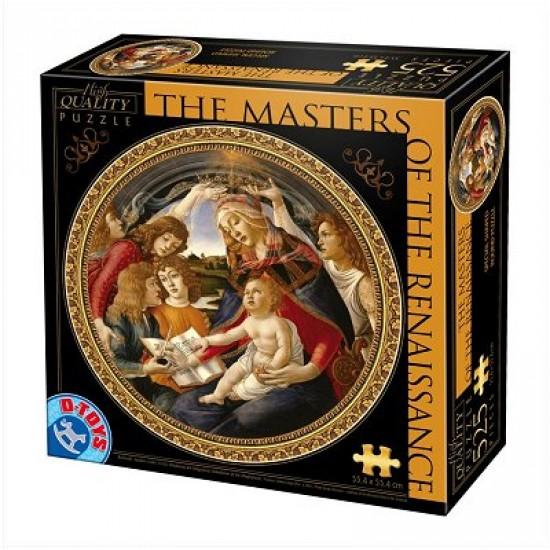Puzzle 525 pièces rond - Les maîtres de la Renaissance - Botticelli : Madonna del Magnifica - DToys-66985TM02