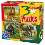 Puzzles de 6 à 16 pièces : 3 puzzles : Animaux d'Afrique