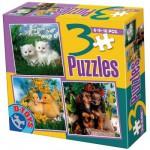 Puzzles de 6 à 16 pièces : 3 puzzles : Chatons, canetons et chiots