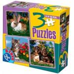 Puzzles de 6 à 16 pièces : 3 puzzles : Lapin, chaton et chiots