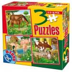 Puzzles de 6 à 16 pièces : 3 puzzles animaux de la ferme : Chevaux, cochons et vaches