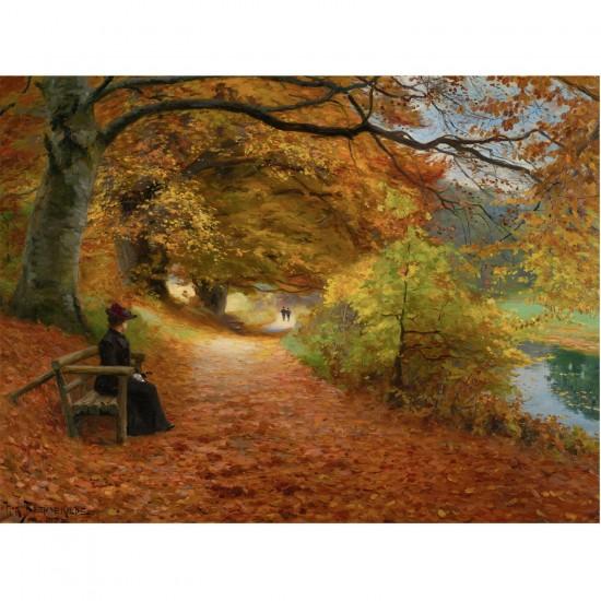 Puzzle 1000 pièces : Hans Anderson Brendekilde : Chemin boisé d'automne - Dtoys-72795BR02