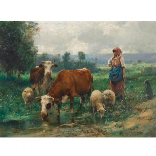 Puzzle 1000 pièces : Julien Dupré : La bergère avec son troupeau - Dtoys-72788DU02