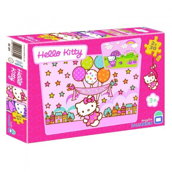 Puzzle 2 x 30 pièces - Hello Kitty : Les ballons - Dujardin-62301-5