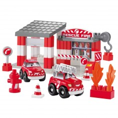 Briques de construction Abrick : Caserne de pompiers avec voitures