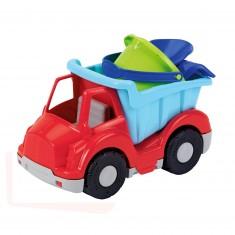 Camion benne 27 cm garni d'accessoires de plage