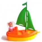 Jouet de plage : Bateau Plouf : Voile verte et coque jaune/orange