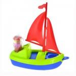 Jouet de plage : Bateau Plouf : Voile rouge et coque bleue et verte