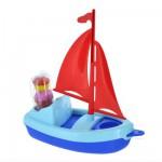 Jouet de plage : Bateau Plouf : Voile rouge et coque bleue