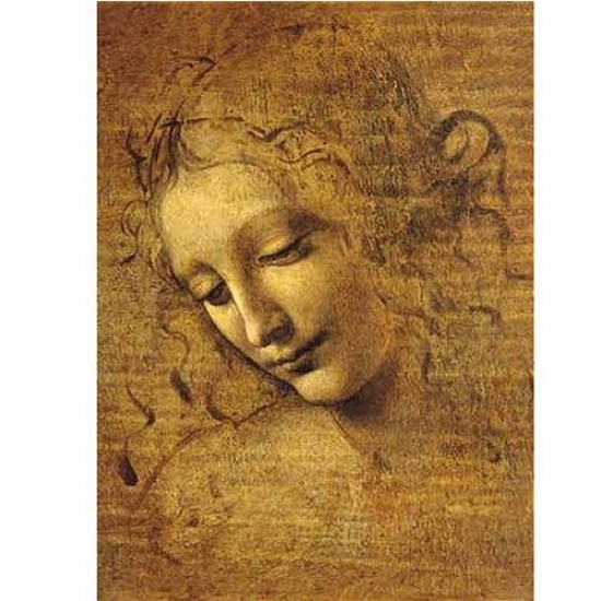 Puzzle 1000 pièces - Coffret en bois - Léonard de Vinci : Visage de Giovane Fanciulla - Ricordi-58051