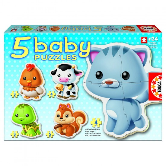 Baby puzzle - 5 puzzles : Les animaux - Educa-13473
