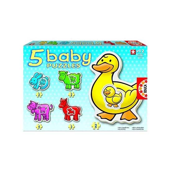 Baby puzzle - 5 puzzles - Les animaux de la ferme - Educa-14865