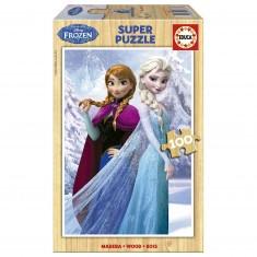 Puzzle 100 pièces en bois : La Reine des Neiges