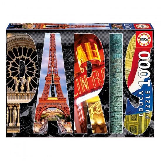 Puzzle 1000 pièces : Collage de Paris - Educa-16757
