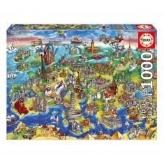 Puzzle 1000 pièces : Europe en dessins