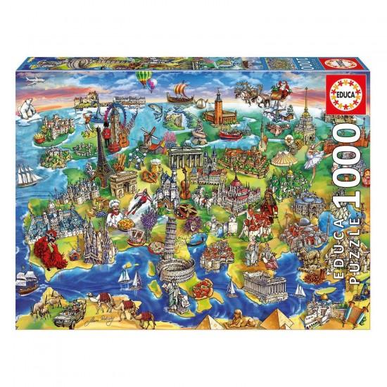 Puzzle 1000 pièces : Europe en dessins - Educa-16752