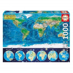 Puzzle 1000 pièces : Mappemonde fluorescent