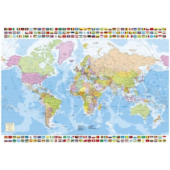 Puzzle 1500 pièces : Carte du monde - Educa-16301