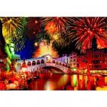 Puzzle 1500 pièces : Fête sur le pont du Rialto, Venise