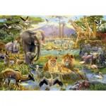 Puzzle 1500 pièces : Le point d'eau africain