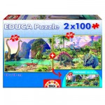 Puzzle 2 x 100 pièces : Dino World
