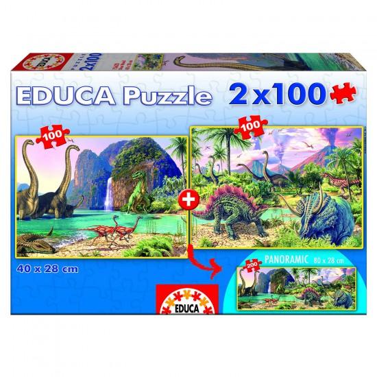 Puzzle 2 x 100 pièces : Dino World - Educa-15620