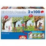Puzzle 2 x 100 pièces : Les quatre saisons