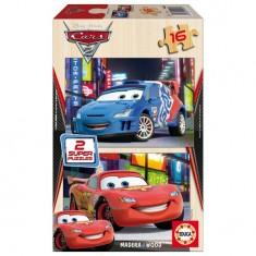 Puzzle 2 x 16 pièces en bois - Cars 2 : Flash McQueen et Raoul Caroule