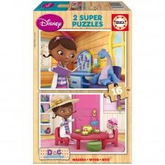 Puzzle 2 x 16 pièces en bois : Docteur la Peluche