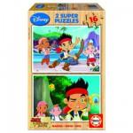 Puzzle 2 x 16 pièces en bois : Jake et les pirates du Pays Imaginaire