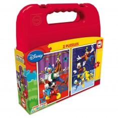 Puzzle 2 x 20 pièces : Mickey et ses amis