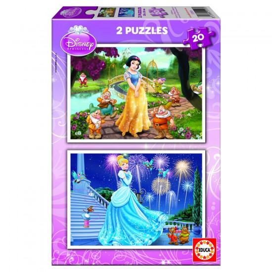 Puzzle 2 x 20 pièces : Princesses Disney : Blanche-Neige et Cendrillon - Educa-15593