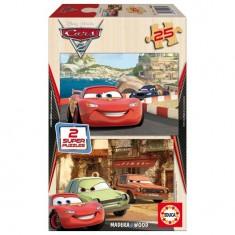 Puzzle 2 x 25 pièces en bois - Cars 2 : Flash McQueen, Grem et Acer