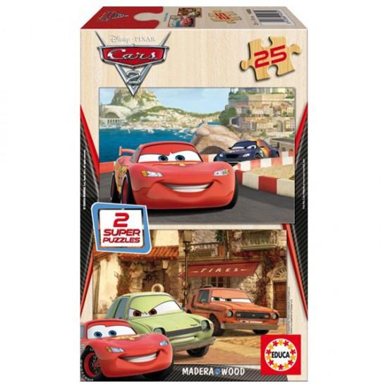 Puzzle 2 x 25 pièces en bois - Cars 2 : Flash McQueen, Grem et Acer - Educa-14935