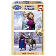 Puzzle 2 x 25 pièces en bois : La Reine des Neiges