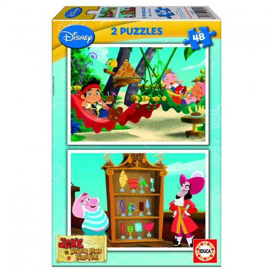 Puzzle 2 x 48 pièces : Jake et les pirates du Pays Imaginaire - Educa-15600