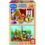 Puzzle 2 x 50 pièces - Puzzle en bois : La maison de Mickey
