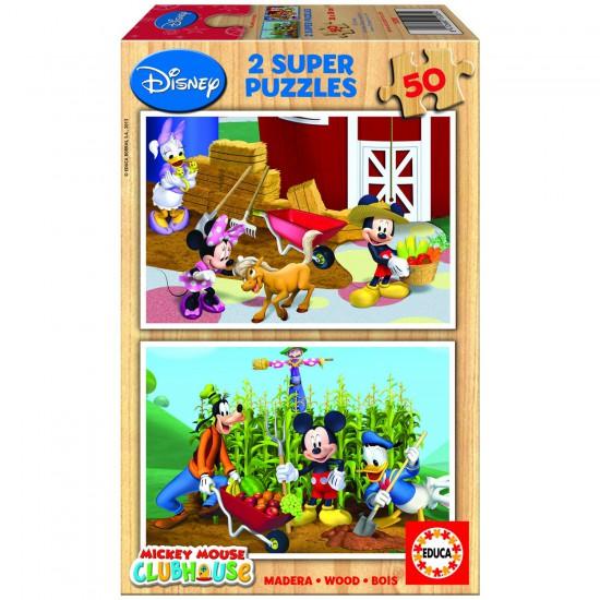Puzzle 2 x 50 pièces - Puzzle en bois : La maison de Mickey - Educa-15285