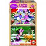 Puzzle 2 x 50 pièces - Puzzle en bois : Minnie