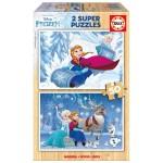 Puzzle 2 x 50 pièces : La Reine des Neiges (Frozen)