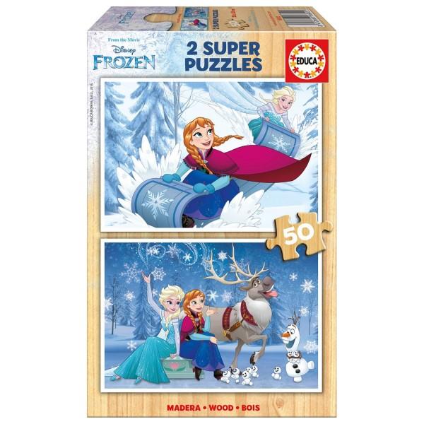 puzzle 2 x 50 pi ces la reine des neiges frozen jeux et jouets educa avenue des jeux. Black Bedroom Furniture Sets. Home Design Ideas