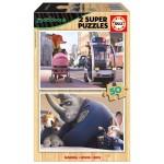 Puzzle 2 x 50 pièces : Zootopie