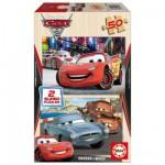 Puzzle 2 x 50 pièces en bois - Cars 2 : Flash McQueen, Martin et Finn McMissile