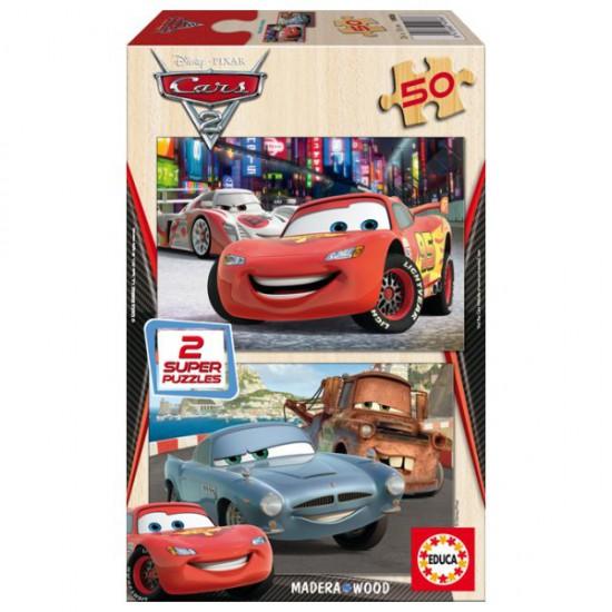 Puzzle 2 x 50 pièces en bois - Cars 2 : Flash McQueen, Martin et Finn McMissile - Educa-14936